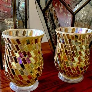 Pier 1 Gold Glam mosaic candle holders set 2